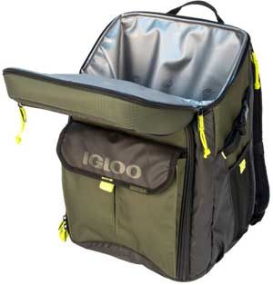 Lid and Interior Cooler of Igloo Outdoorsman 32-Can Cooler Backpack