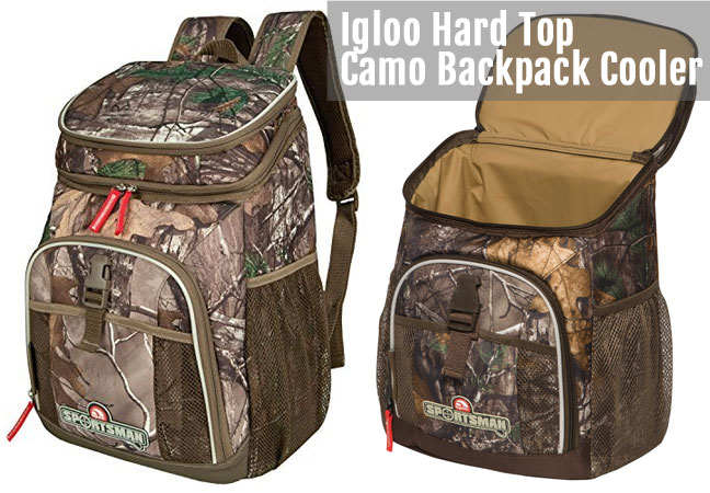 Realtree Camo Backpack Cooler - Hard Top Version with Separate Compartment on Top