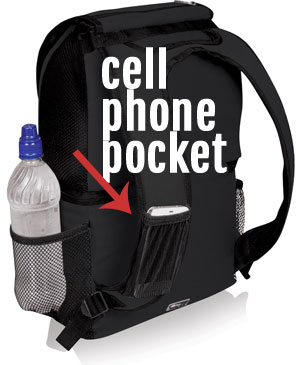 Mesh Cell Phone Pocket on Shoulder Strap of Picnic Time Zuma Insulated Backpack Cooler