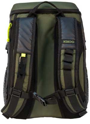 Molle Shoulder Straps with Carabiner on 32-Can Capacity Igloo Backpack Cooler