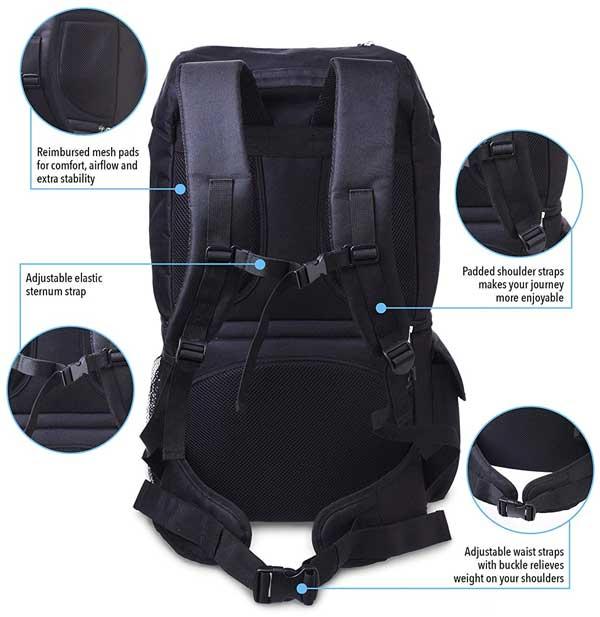 North Coyote Cooler Backpack Features on Back Side and Shoulder Straps