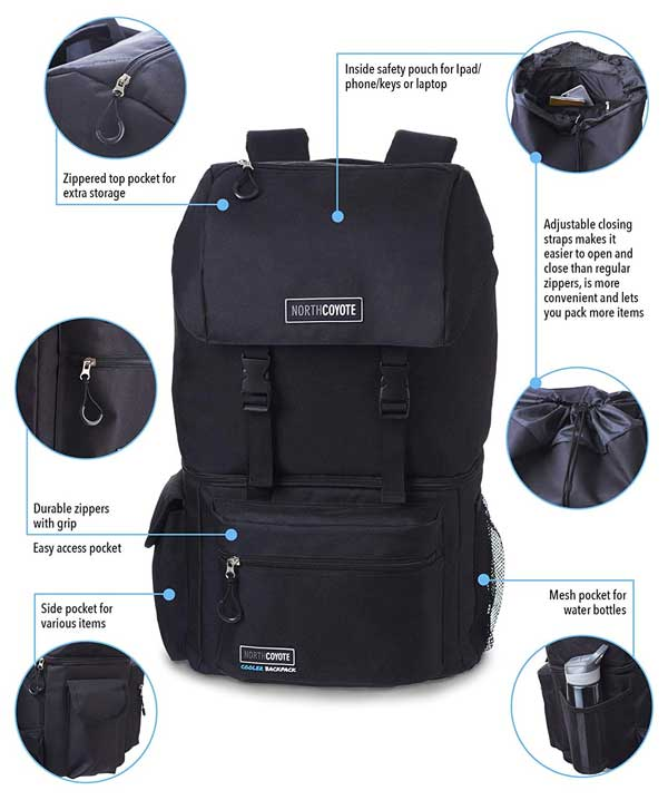 North Coyote Backpack Features Including Pockets and Compartments