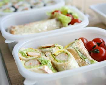Lunch Packed in Tupperware Containers to Stack in Backpack Coolers