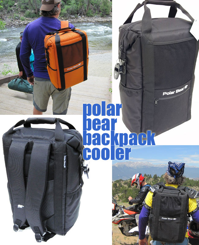 Polar Bear Backpack Cooler in Orange and Black, Back and Front Views