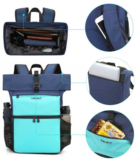 Tourit Dual Backpack Cooler with Insulated Hot/Cold Compartment, Dry Items Section and large Water Resistant Pocket for Notebook